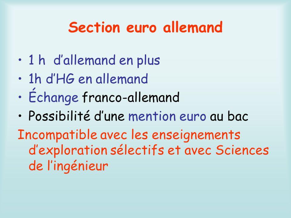 Section euro allemand 1 h d'allemand en plus 1h d'HG en allemand