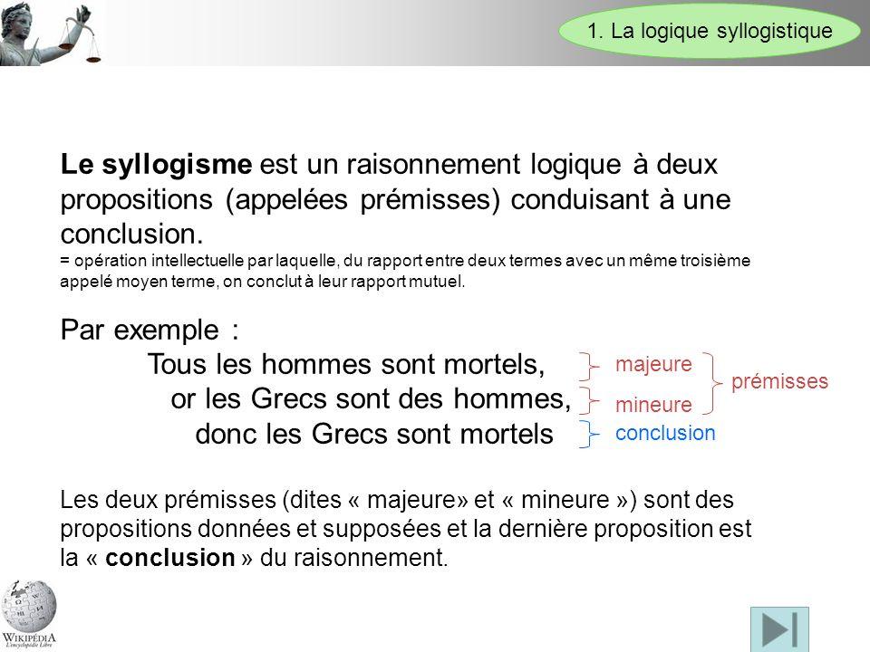 1. La logique syllogistique