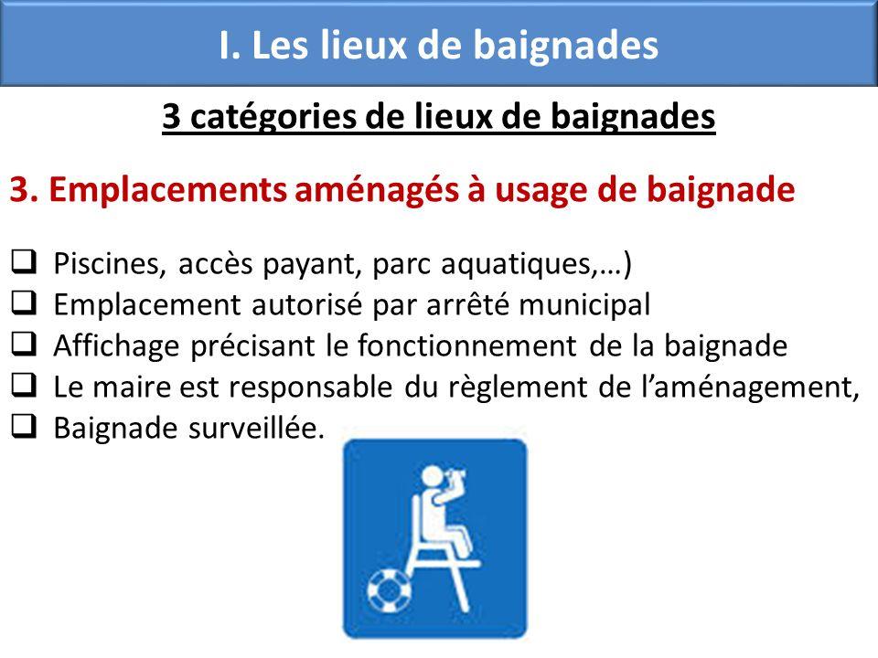 I. Les lieux de baignades 3 catégories de lieux de baignades