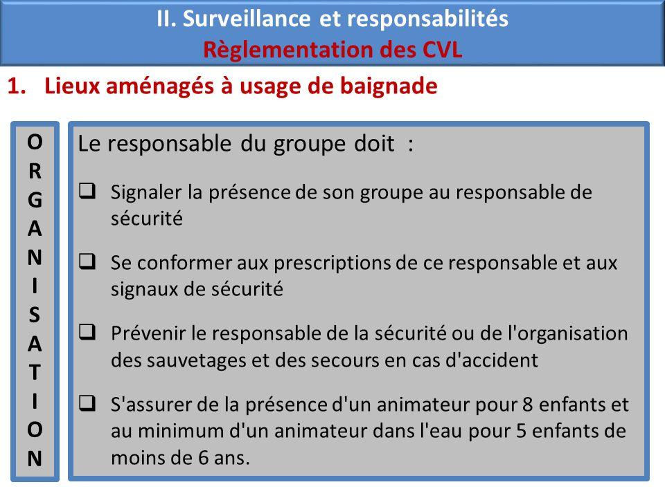 II. Surveillance et responsabilités Règlementation des CVL