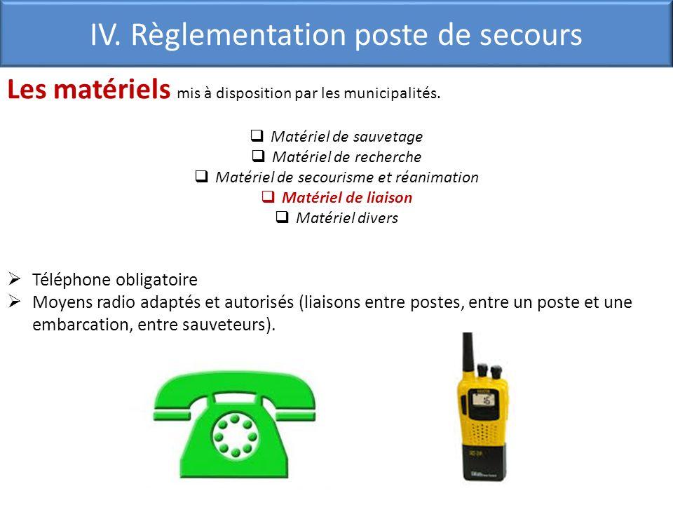 IV. Règlementation poste de secours