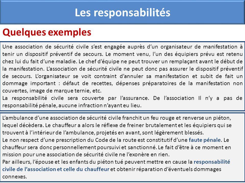 Les responsabilités Quelques exemples