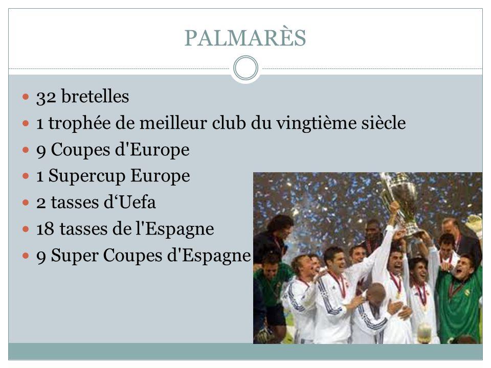 PALMARÈS 32 bretelles 1 trophée de meilleur club du vingtième siècle