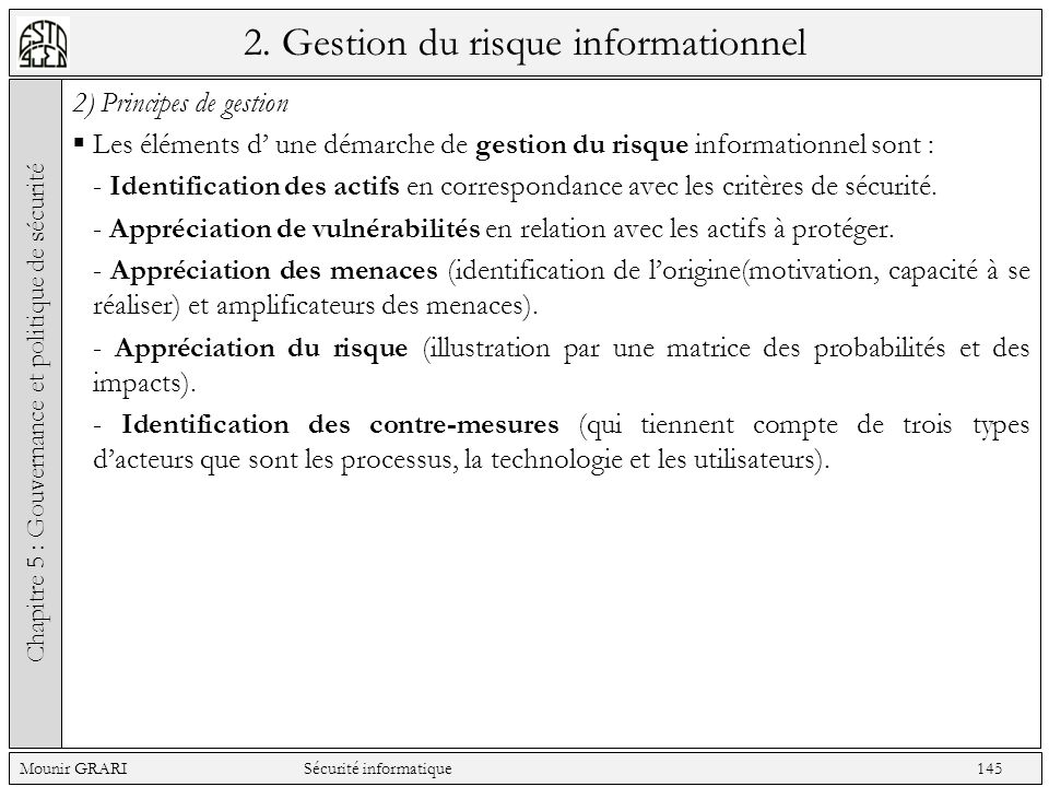 2. Gestion du risque informationnel