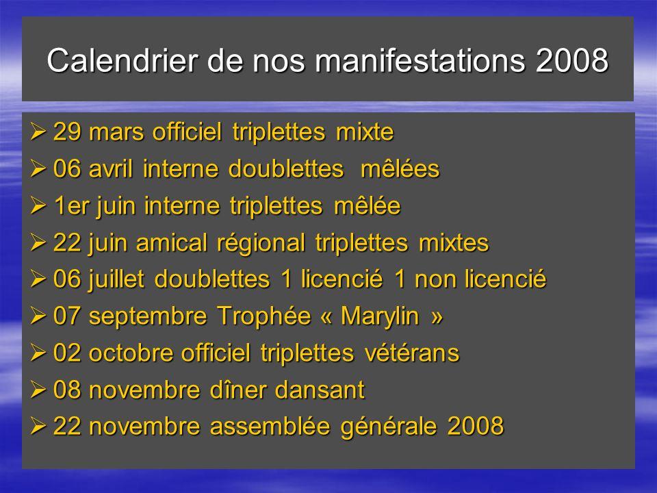 Calendrier de nos manifestations 2008