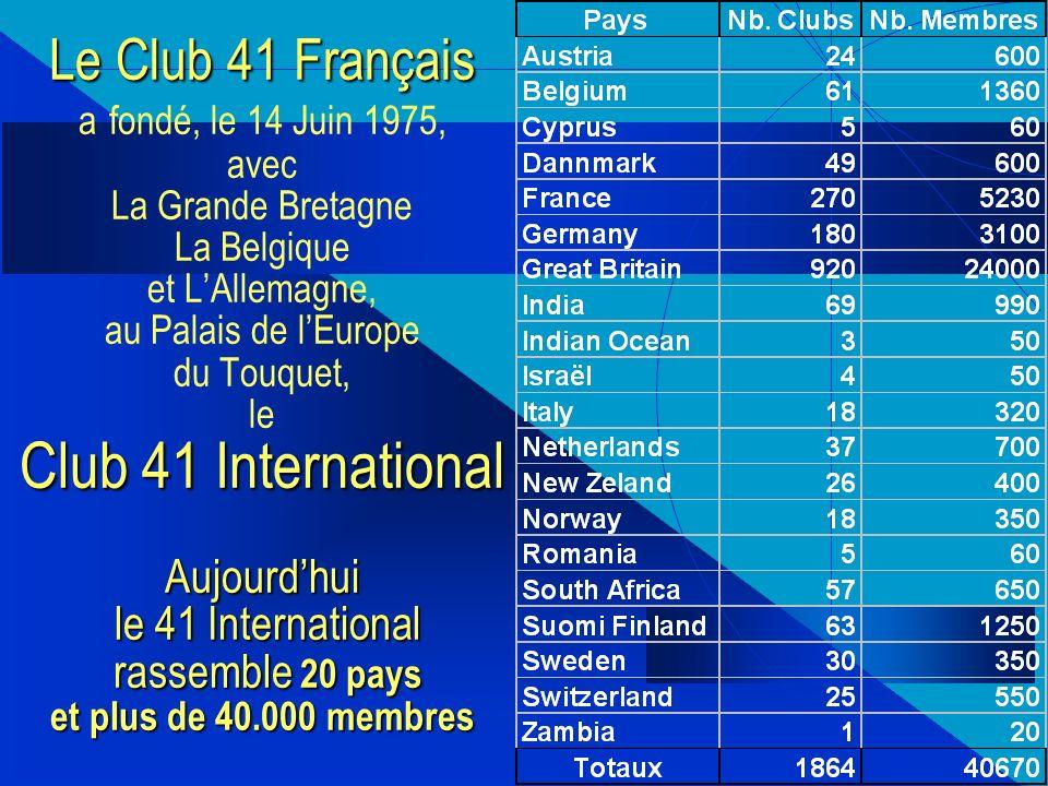 Le Club 41 Français a fondé, le 14 Juin 1975, avec La Grande Bretagne La Belgique et L'Allemagne, au Palais de l'Europe du Touquet, le Club 41 International Aujourd'hui le 41 International rassemble 20 pays et plus de 40.000 membres