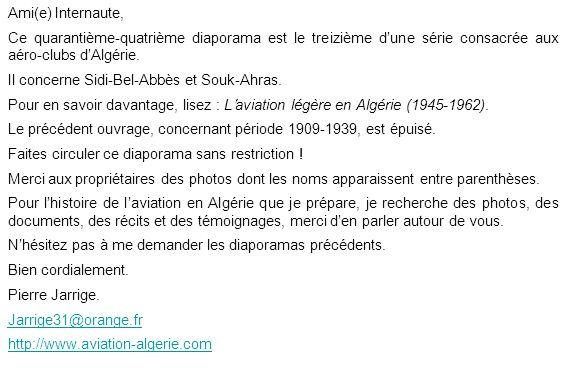 Ami(e) Internaute, Ce quarantième-quatrième diaporama est le treizième d'une série consacrée aux aéro-clubs d'Algérie.