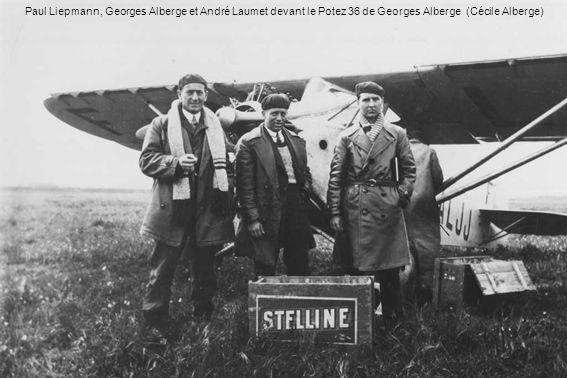 Paul Liepmann, Georges Alberge et André Laumet devant le Potez 36 de Georges Alberge (Cécile Alberge)