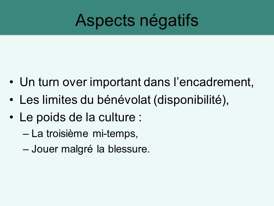 Aspects négatifs Un turn over important dans l'encadrement,