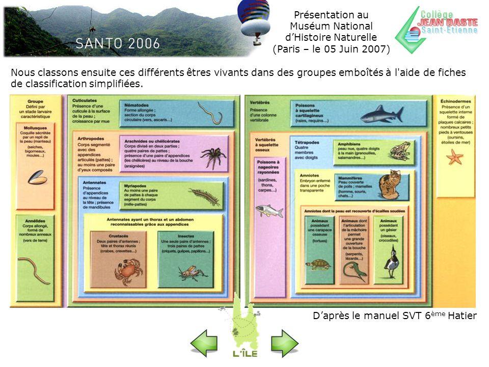 Présentation au Muséum National d'Histoire Naturelle (Paris – le 05 Juin 2007)