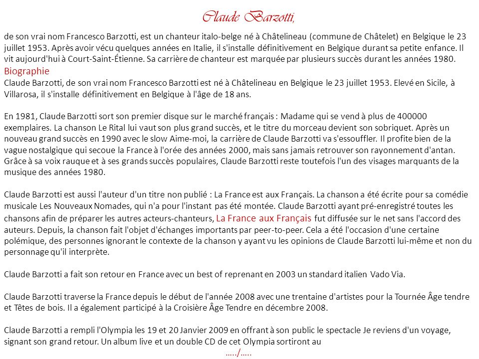 Claude Barzotti, Biographie