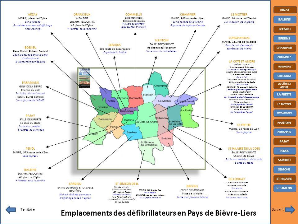 Emplacements des défibrillateurs en Pays de Bièvre-Liers