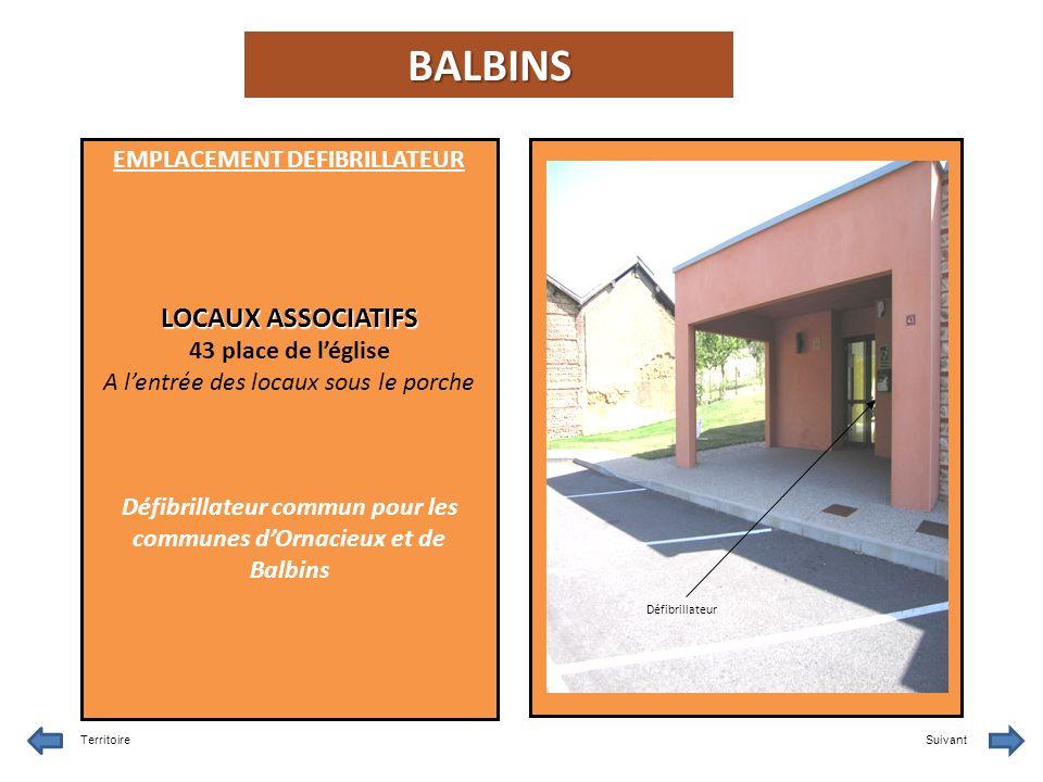 BALBINS LOCAUX ASSOCIATIFS EMPLACEMENT DEFIBRILLATEUR