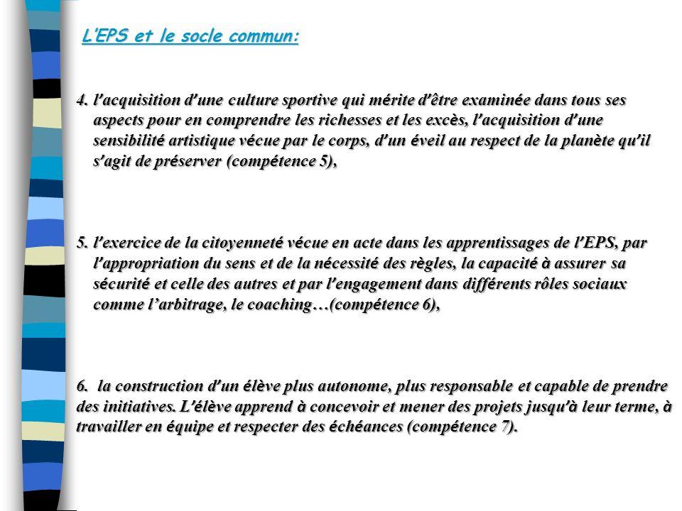 L'EPS et le socle commun: