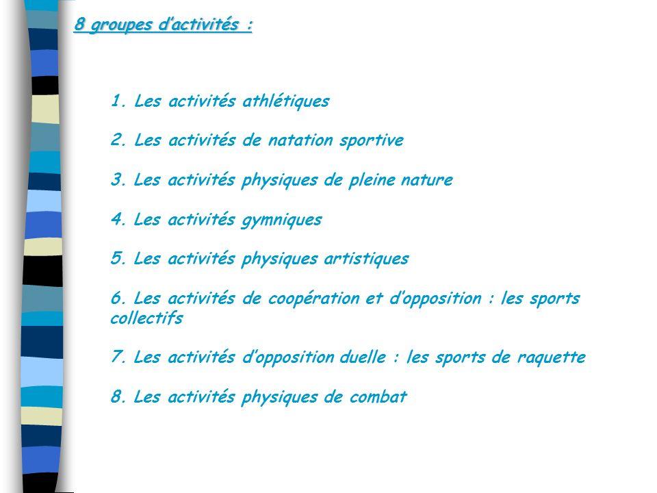 8 groupes d'activités : Les activités athlétiques. Les activités de natation sportive. 3. Les activités physiques de pleine nature.