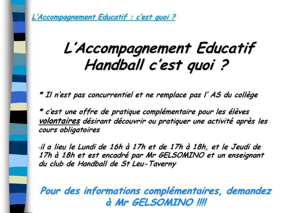 L'Accompagnement Educatif Handball c'est quoi