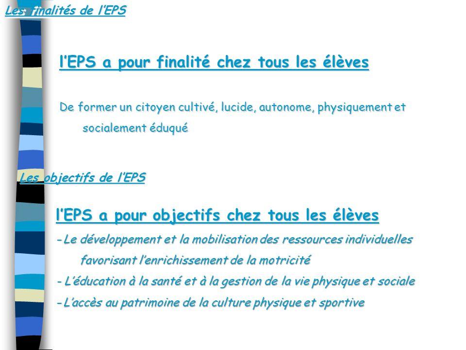 l'EPS a pour finalité chez tous les élèves