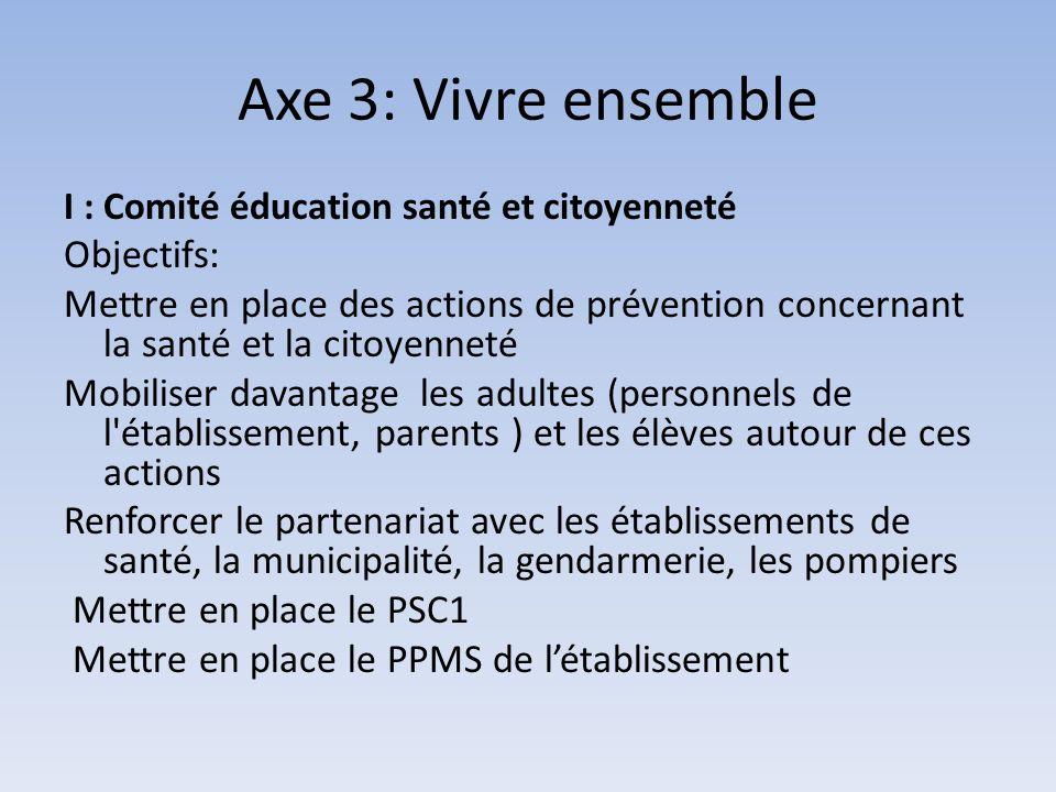 Axe 3: Vivre ensemble Objectifs: