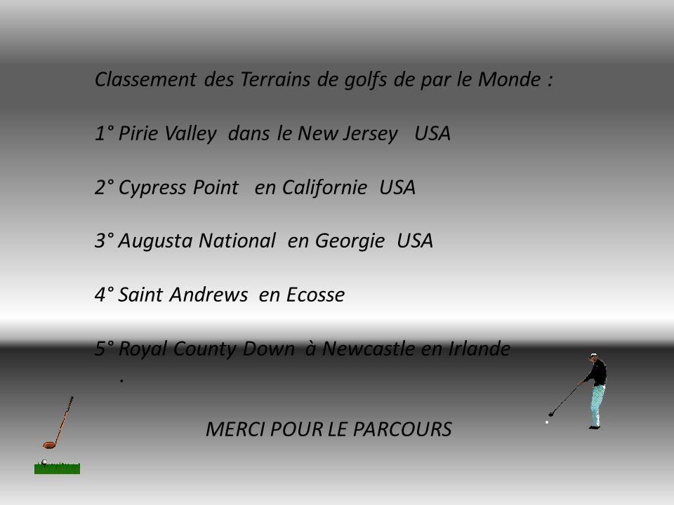 Classement des Terrains de golfs de par le Monde :