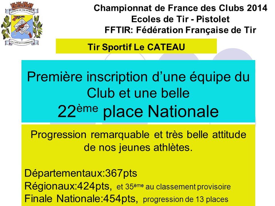 Championnat de France des Clubs 2014 Ecoles de Tir - Pistolet FFTIR: Fédération Française de Tir