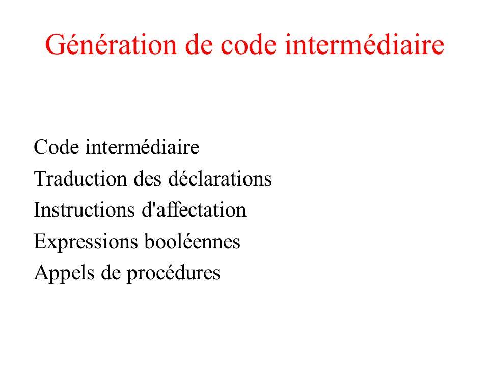 Génération de code intermédiaire