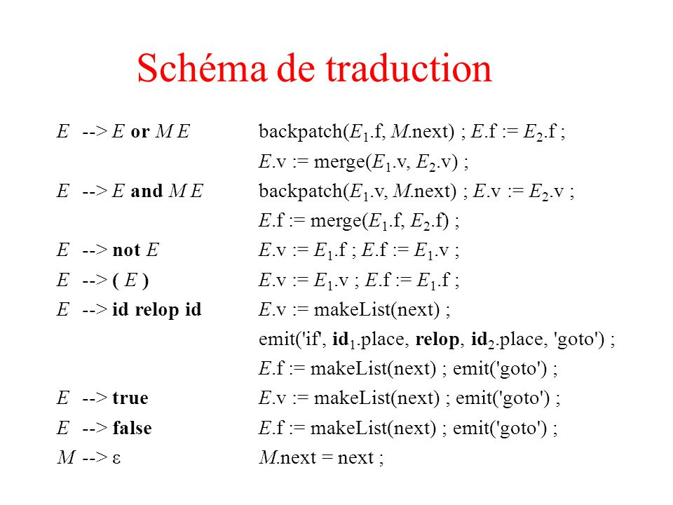 Schéma de traduction E --> E or M E backpatch(E1.f, M.next) ; E.f := E2.f ; E.v := merge(E1.v, E2.v) ;