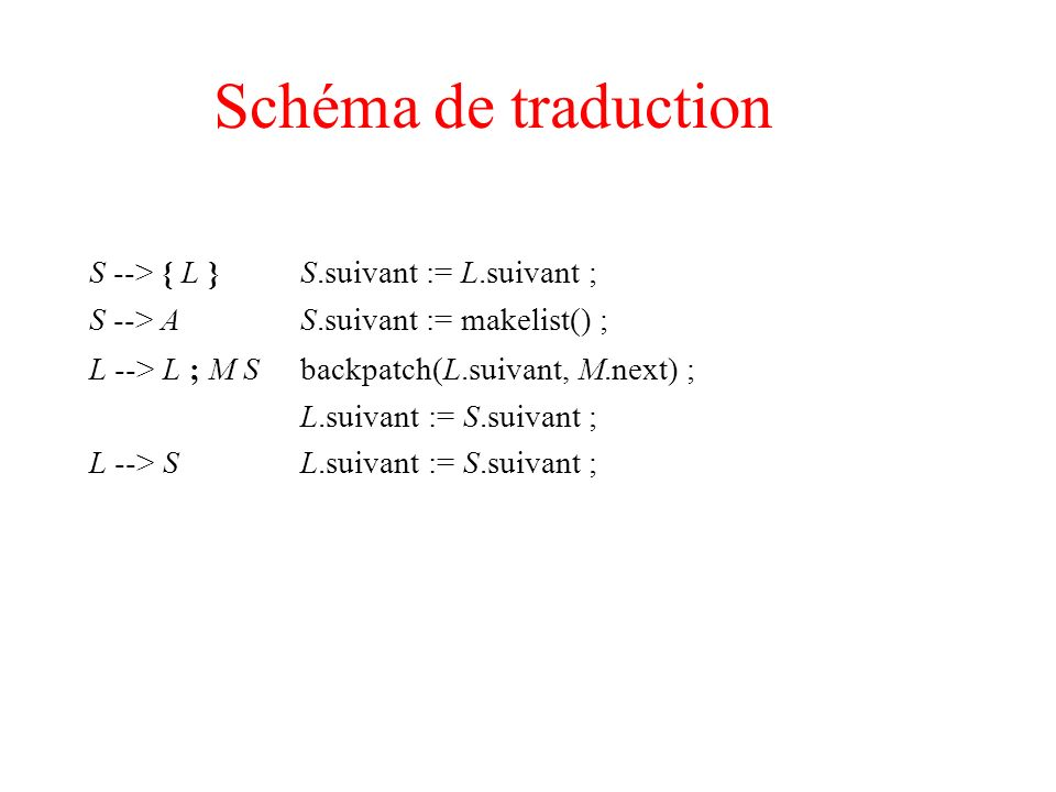 Schéma de traduction S --> { L } S.suivant := L.suivant ;