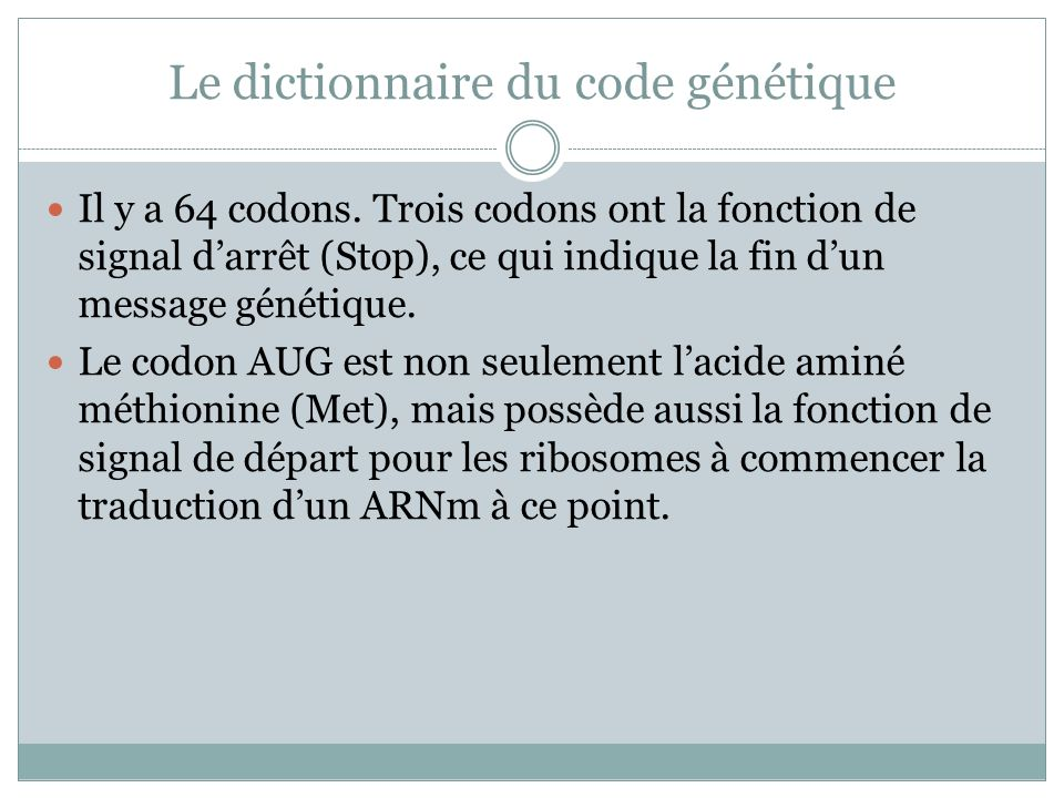 Le dictionnaire du code génétique