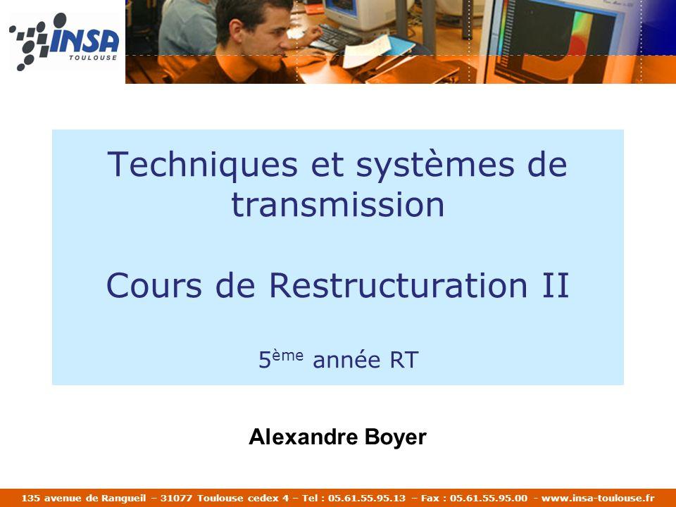 Techniques et systèmes de transmission Cours de Restructuration II 5ème année RT