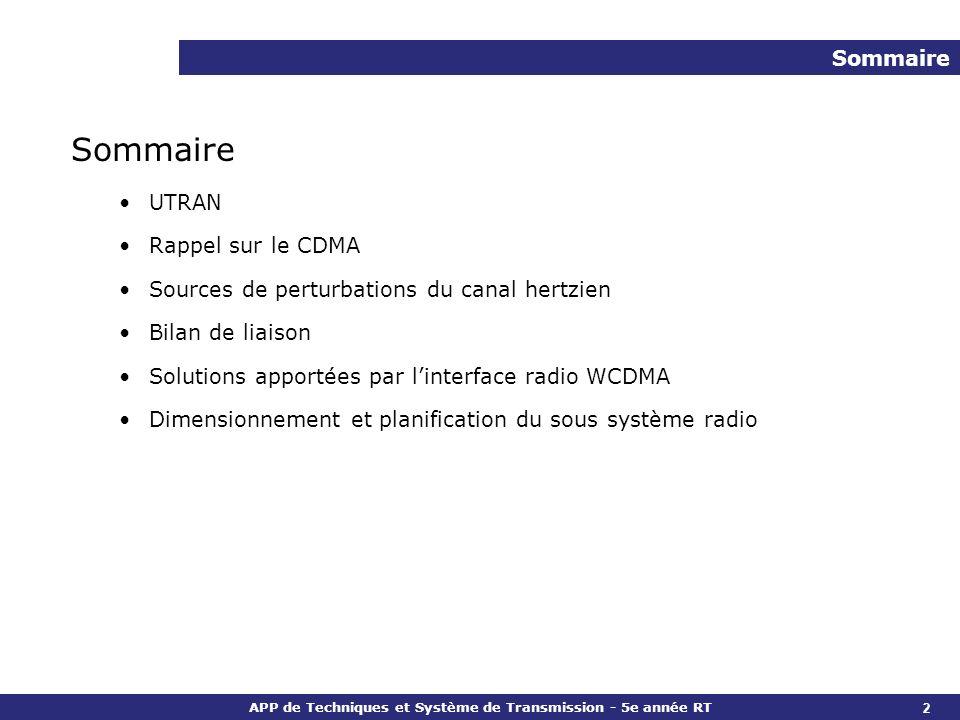 Sommaire Sommaire UTRAN Rappel sur le CDMA