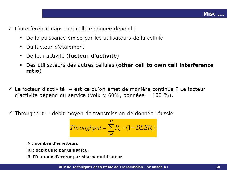 L'interférence dans une cellule donnée dépend :