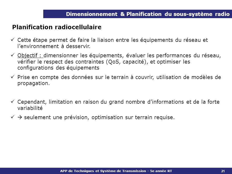 Planification radiocellulaire