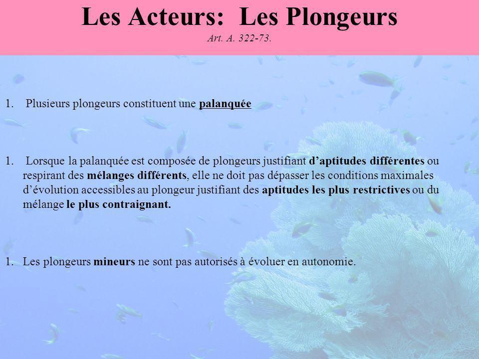 Les Acteurs: Les Plongeurs Art. A. 322-73.
