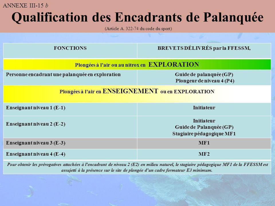 Qualification des Encadrants de Palanquée (Article A