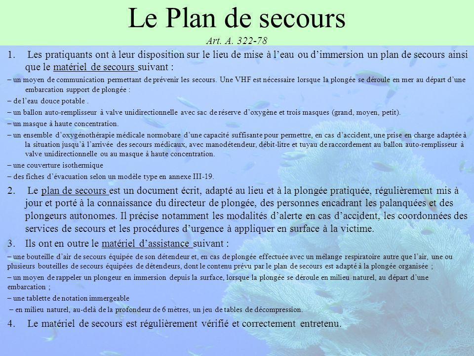 Le Plan de secours Art. A. 322-78