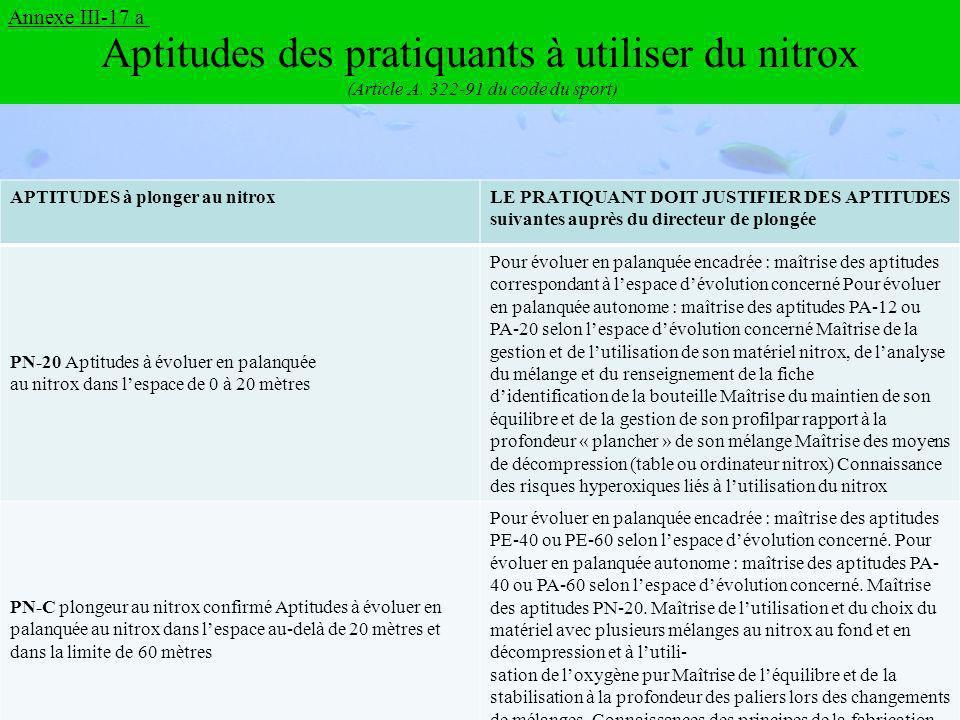 Aptitudes des pratiquants à utiliser du nitrox (Article A