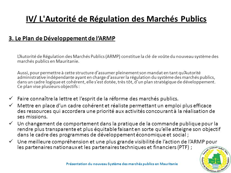 IV/ L Autorité de Régulation des Marchés Publics