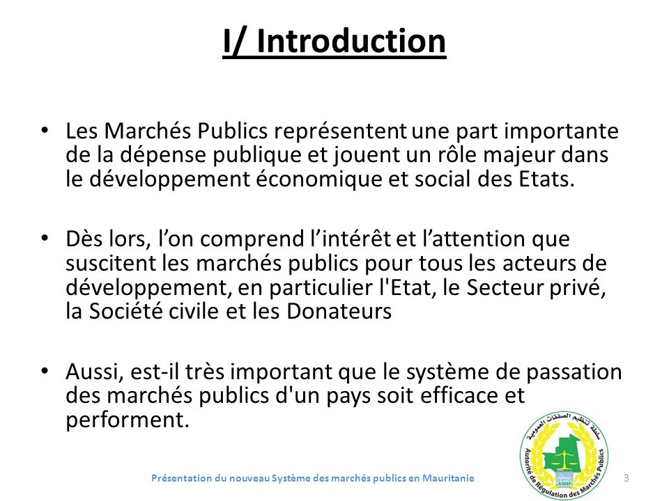 Présentation du nouveau Système des marchés publics en Mauritanie