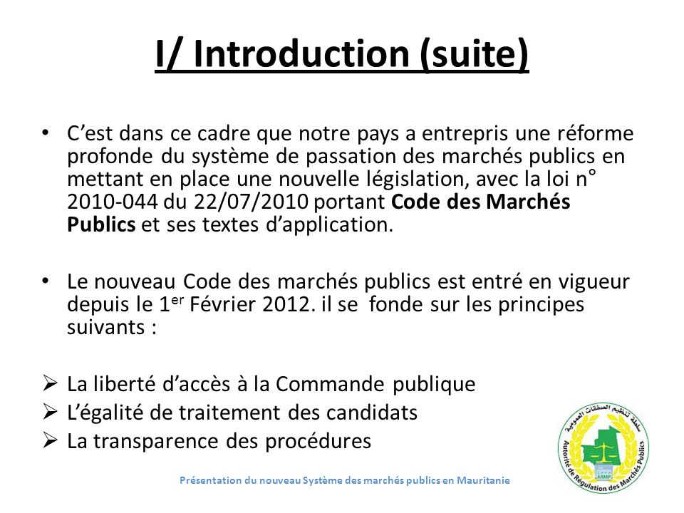 I/ Introduction (suite)