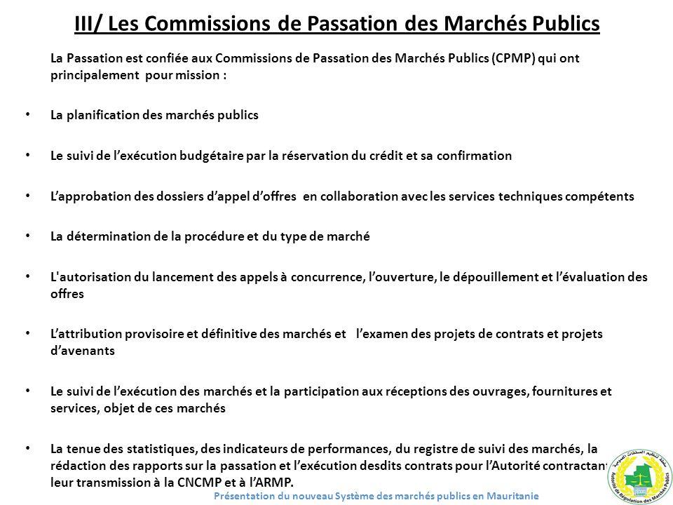 III/ Les Commissions de Passation des Marchés Publics