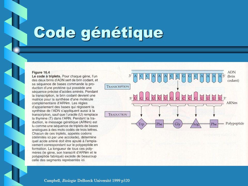 Code génétique Campbell, Biologie DeBoeck Université 1999 p320