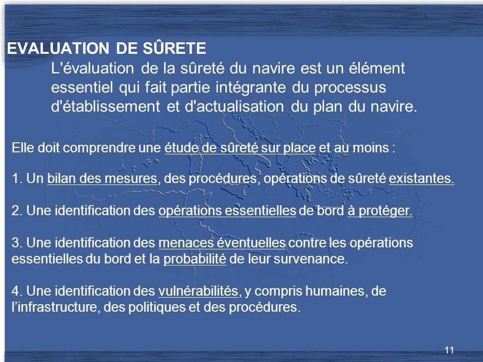 EVALUATION DE SÛRETE L évaluation de la sûreté du navire est un élément essentiel qui fait partie intégrante du processus d établissement et d actualisation du plan du navire.