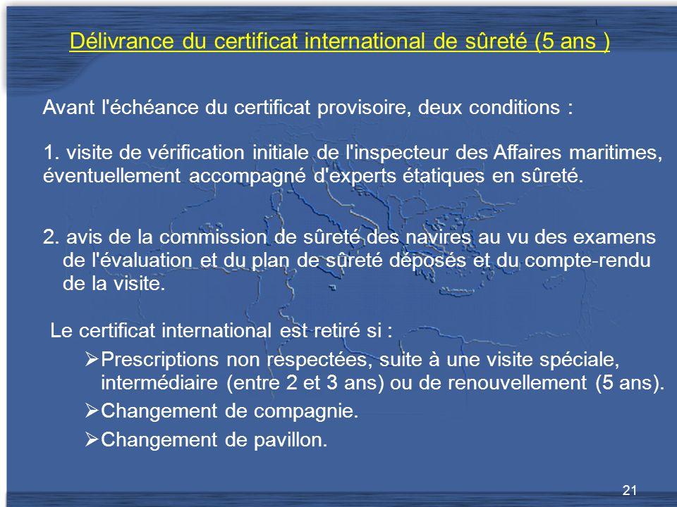 Délivrance du certificat international de sûreté (5 ans )