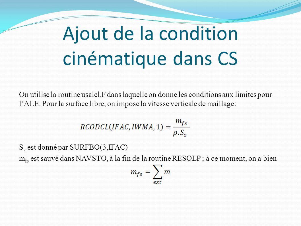 Ajout de la condition cinématique dans CS