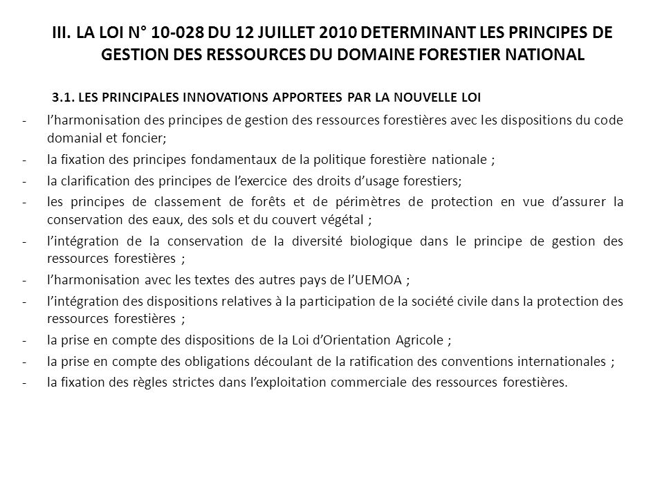 3.1. LES PRINCIPALES INNOVATIONS APPORTEES PAR LA NOUVELLE LOI