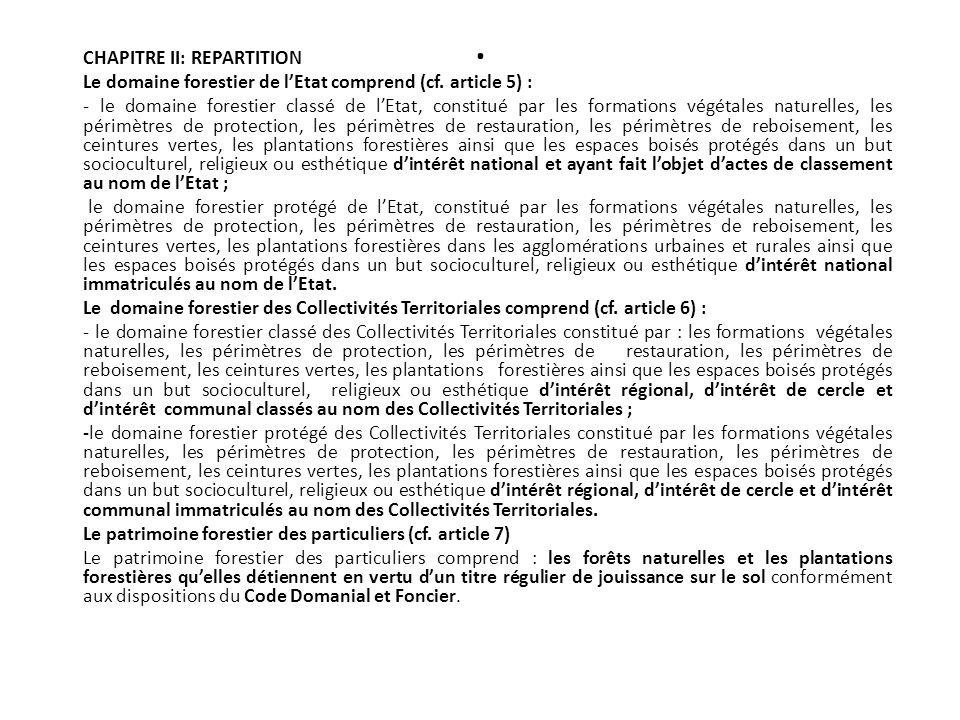 . CHAPITRE II: REPARTITION