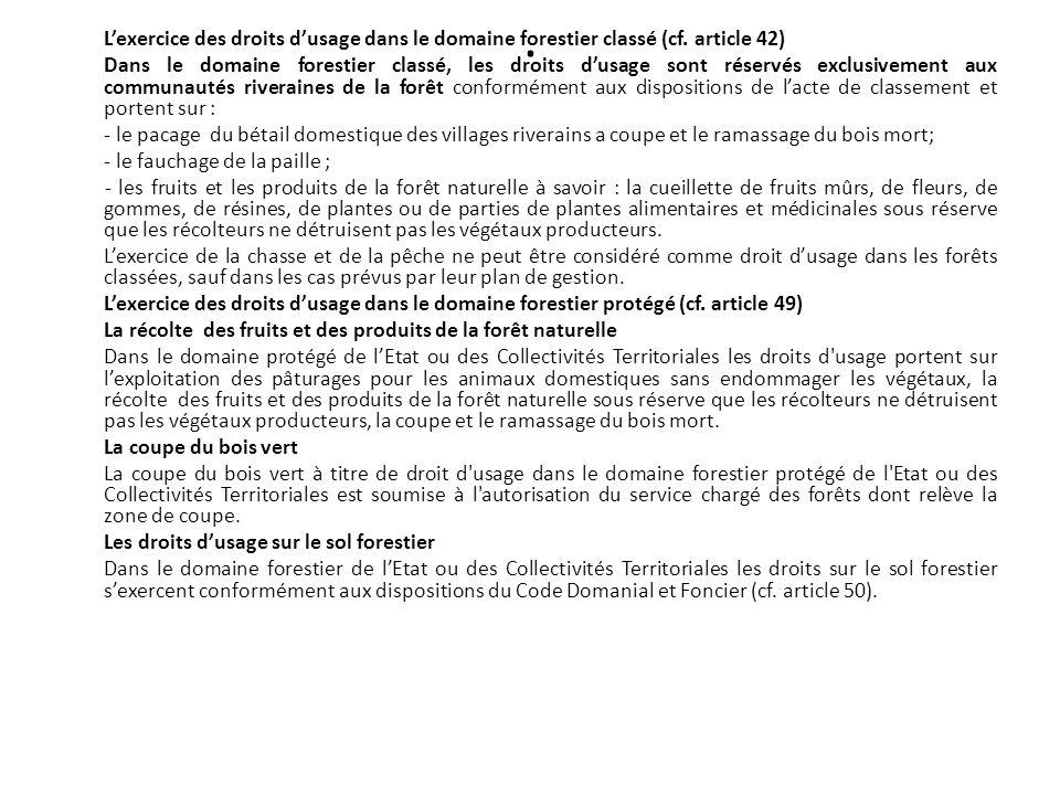 L'exercice des droits d'usage dans le domaine forestier classé (cf