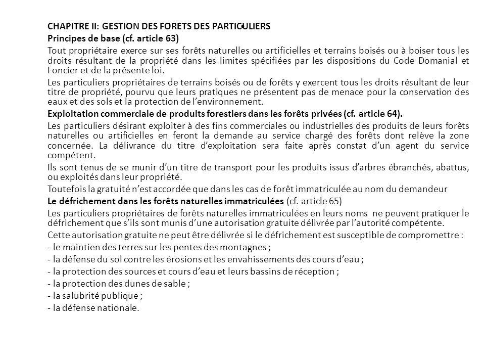 . CHAPITRE II: GESTION DES FORETS DES PARTICULIERS