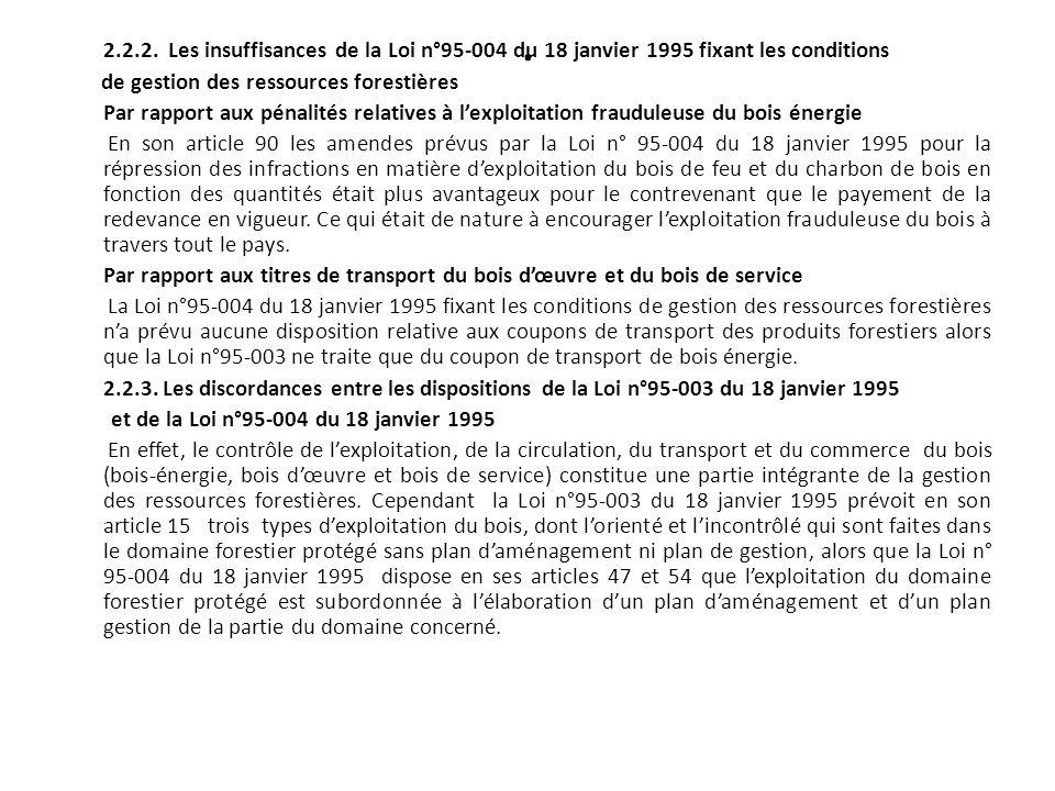 2.2.2. Les insuffisances de la Loi n°95-004 du 18 janvier 1995 fixant les conditions