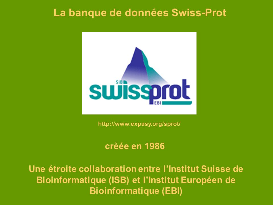 La banque de données Swiss-Prot